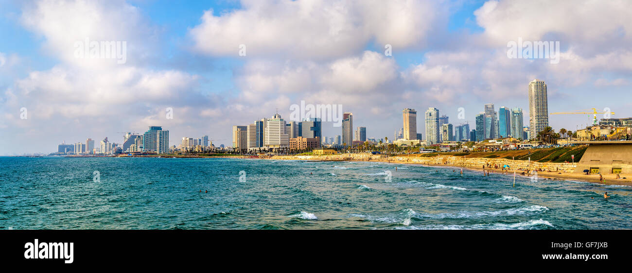 View of the Mediterranean waterfront in Tel Aviv - Stock Image