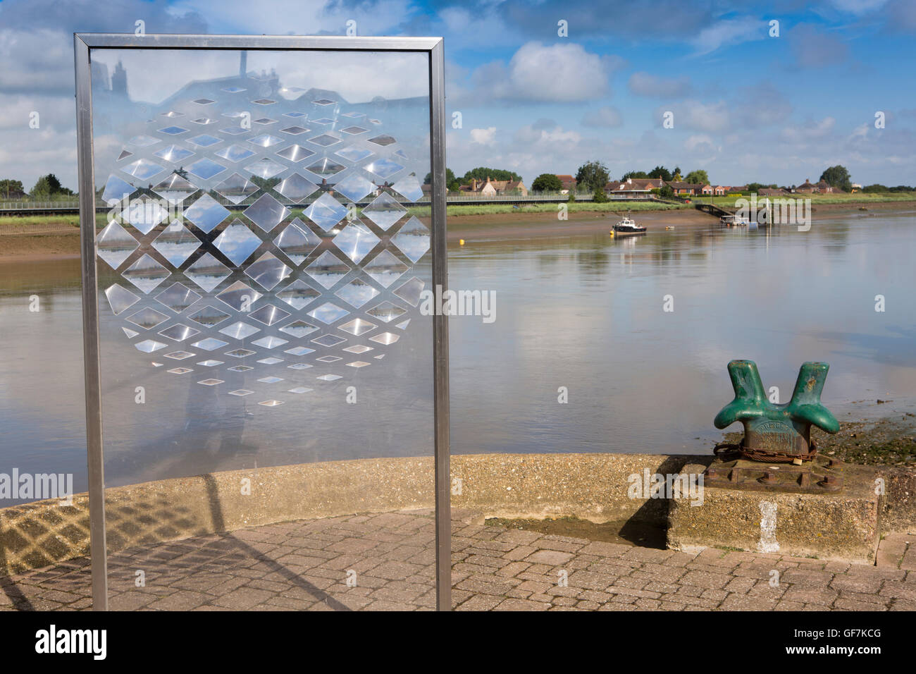 UK, England, Norfolk, King's Lynn, South Quay, transparent sculpture on banks of River Great Ouse - Stock Image