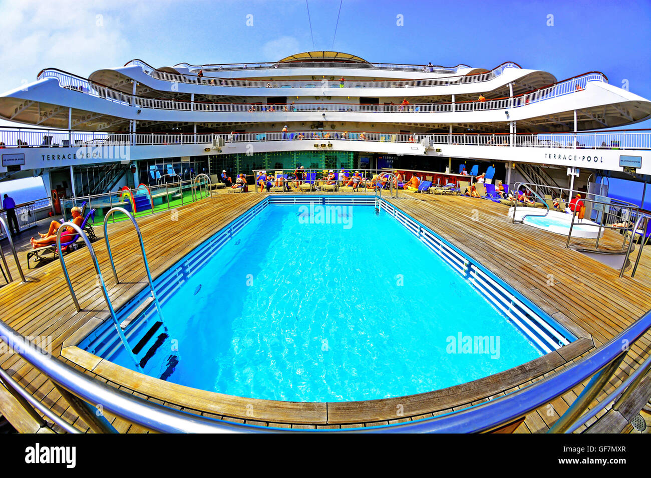 P&O cruise ship Aurora aft terrace pool in the Mediterranean sea Stock Photo
