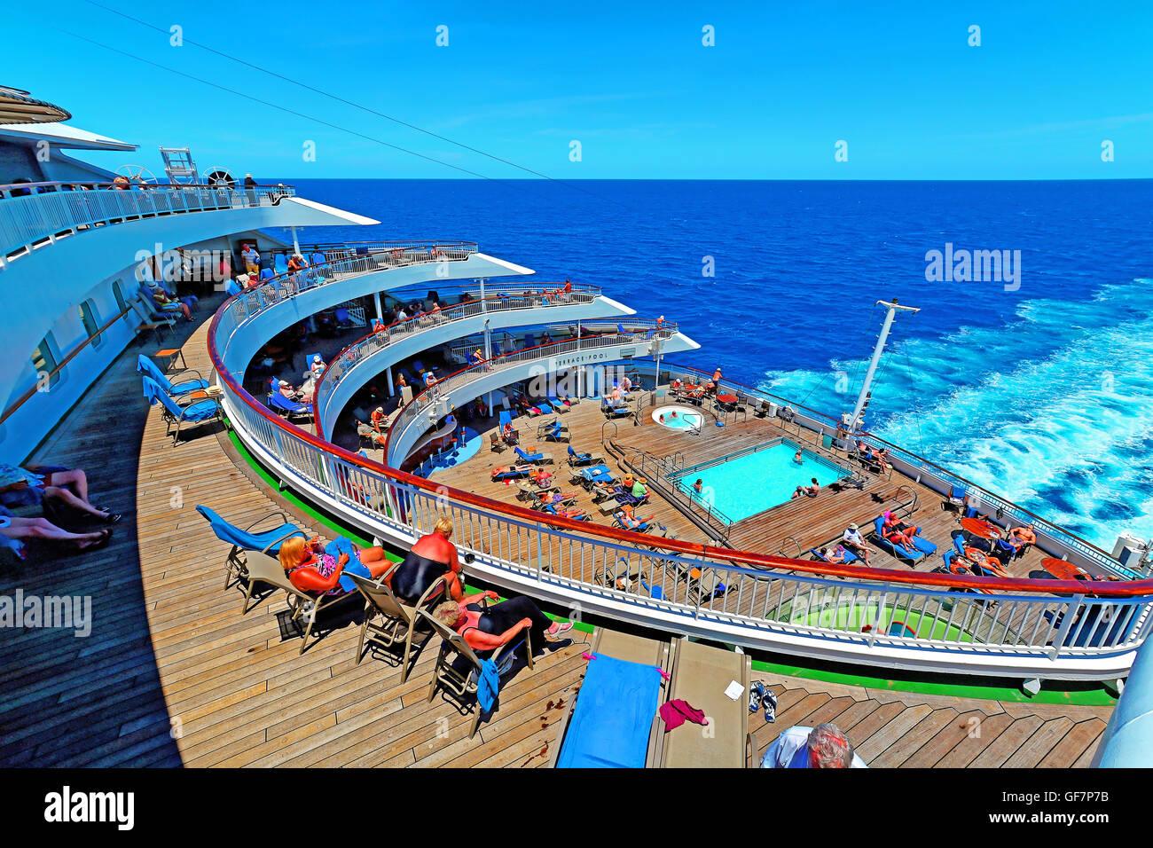P&O cruise ship Aurora aft terrace pool in the Mediterranean sea Stock Photo