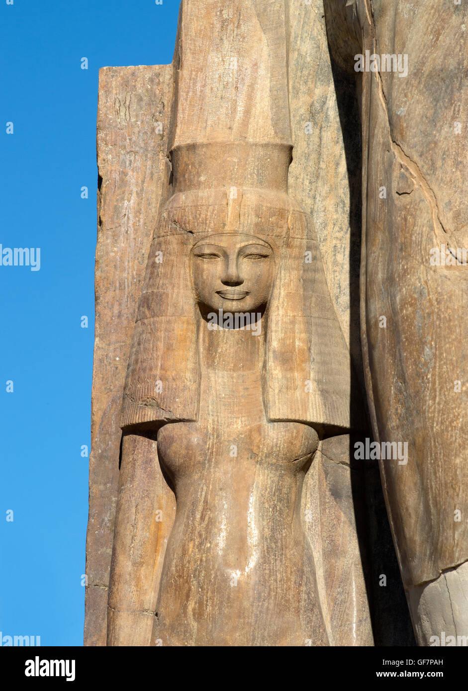 Quartzite statue of Tiye or Teye wife of the pharaoh Amenhotep III, XVIII° dyn. recently discovered at Kom El Hetan, Stock Photo