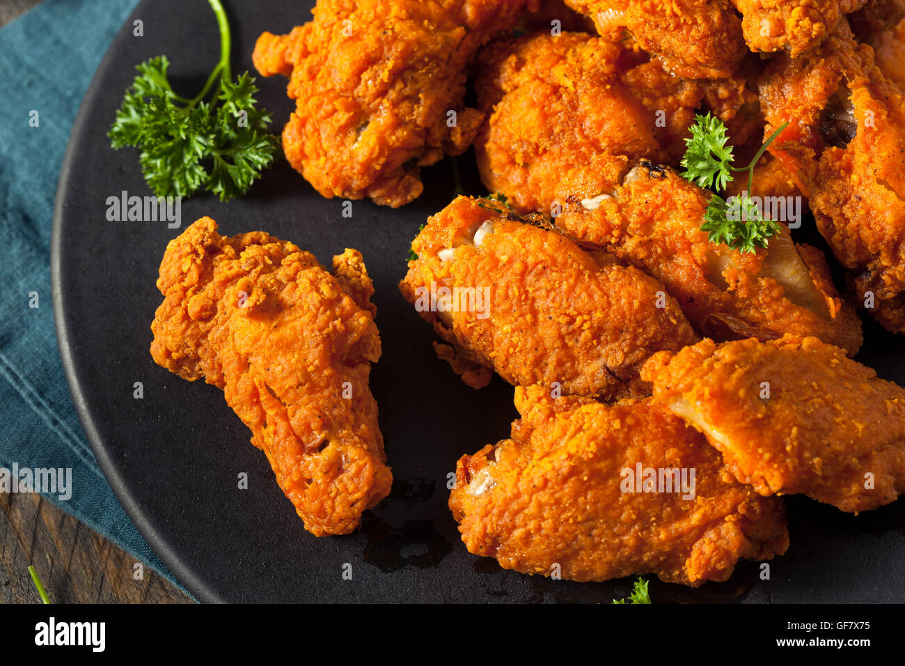 Spicy Deep Fried Breaded Chicken Wings with Ranch Stock Photo