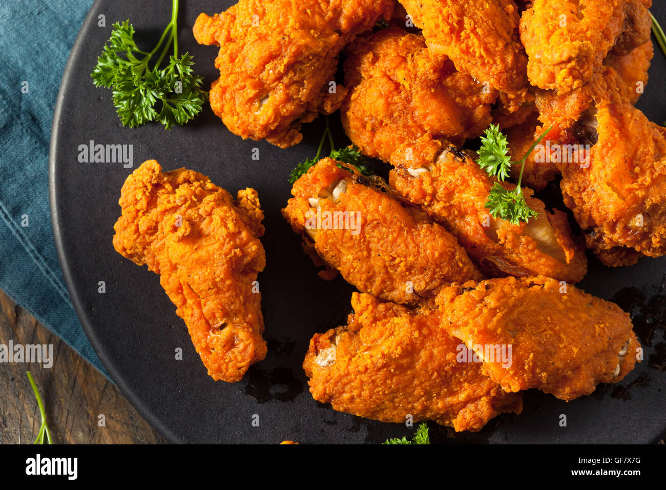 Spicy Deep Fried Breaded Chicken Wings with Ranch - Stock Image