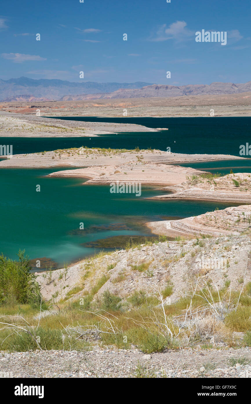 Las Vegas, Nevada - The water level in Lake Mead has fallen 150 feet below full, and is now at 37% of capacity due Stock Photo