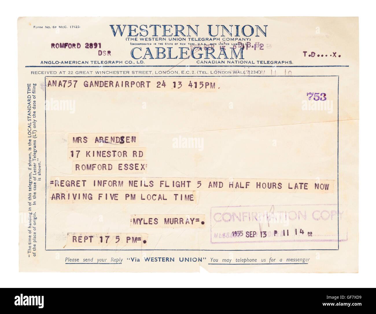 Western Union Cablegram, September 1955 Stock Photo