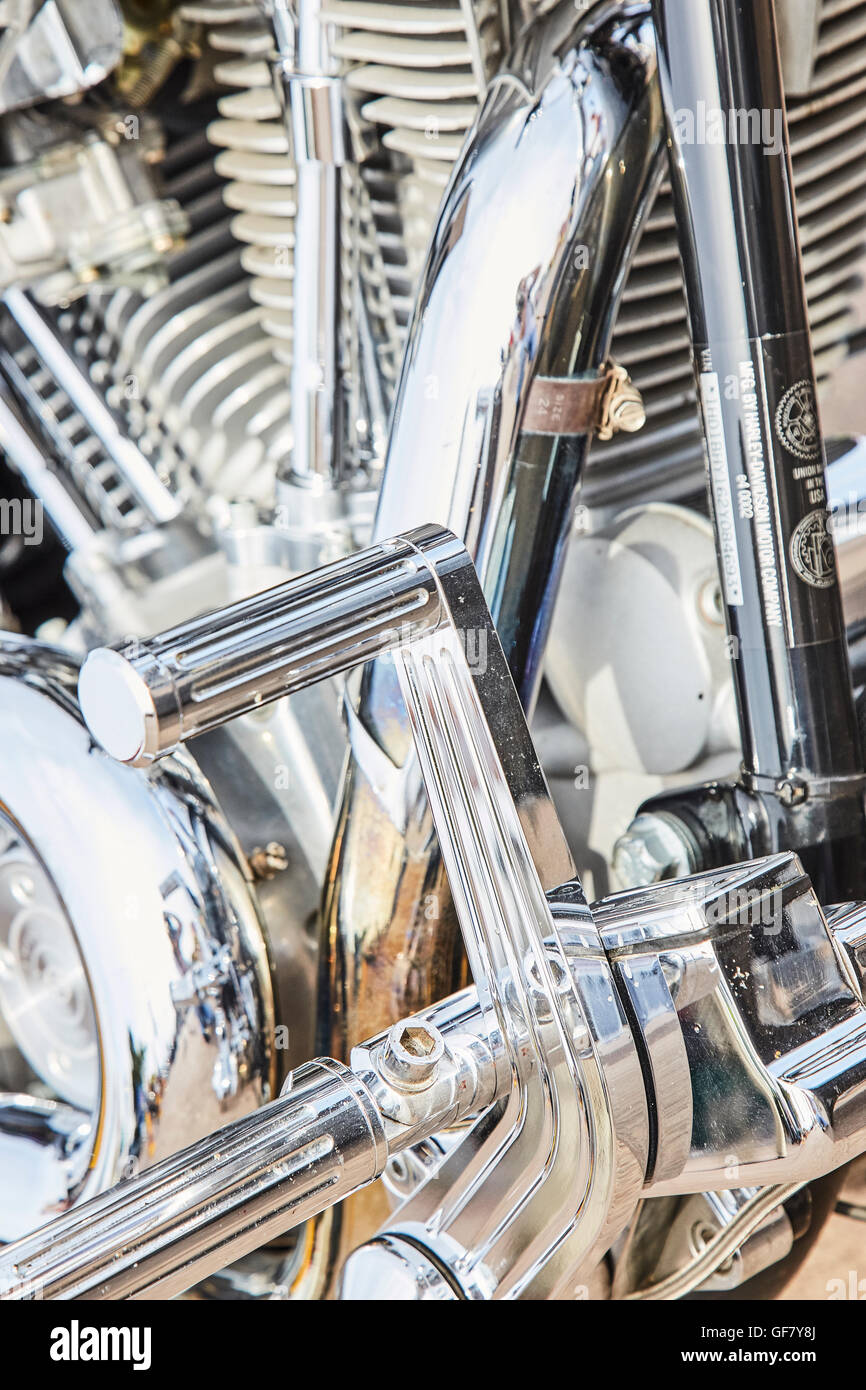 Chrome Gear Levers On A Motorcycle - Stock Image