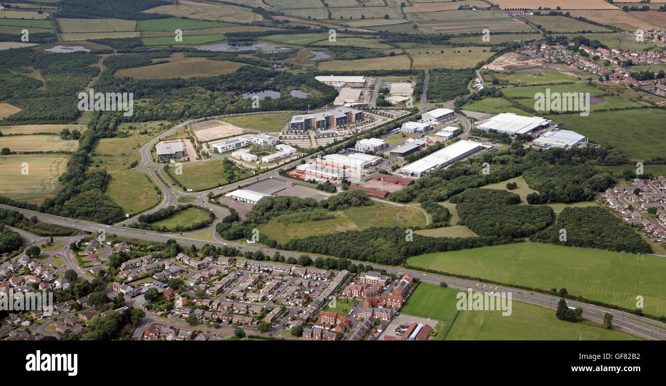 aerial view of Rainton Bridge Business Park near Houghton-le-Spring, Tyne & Wear, UK - Stock Image