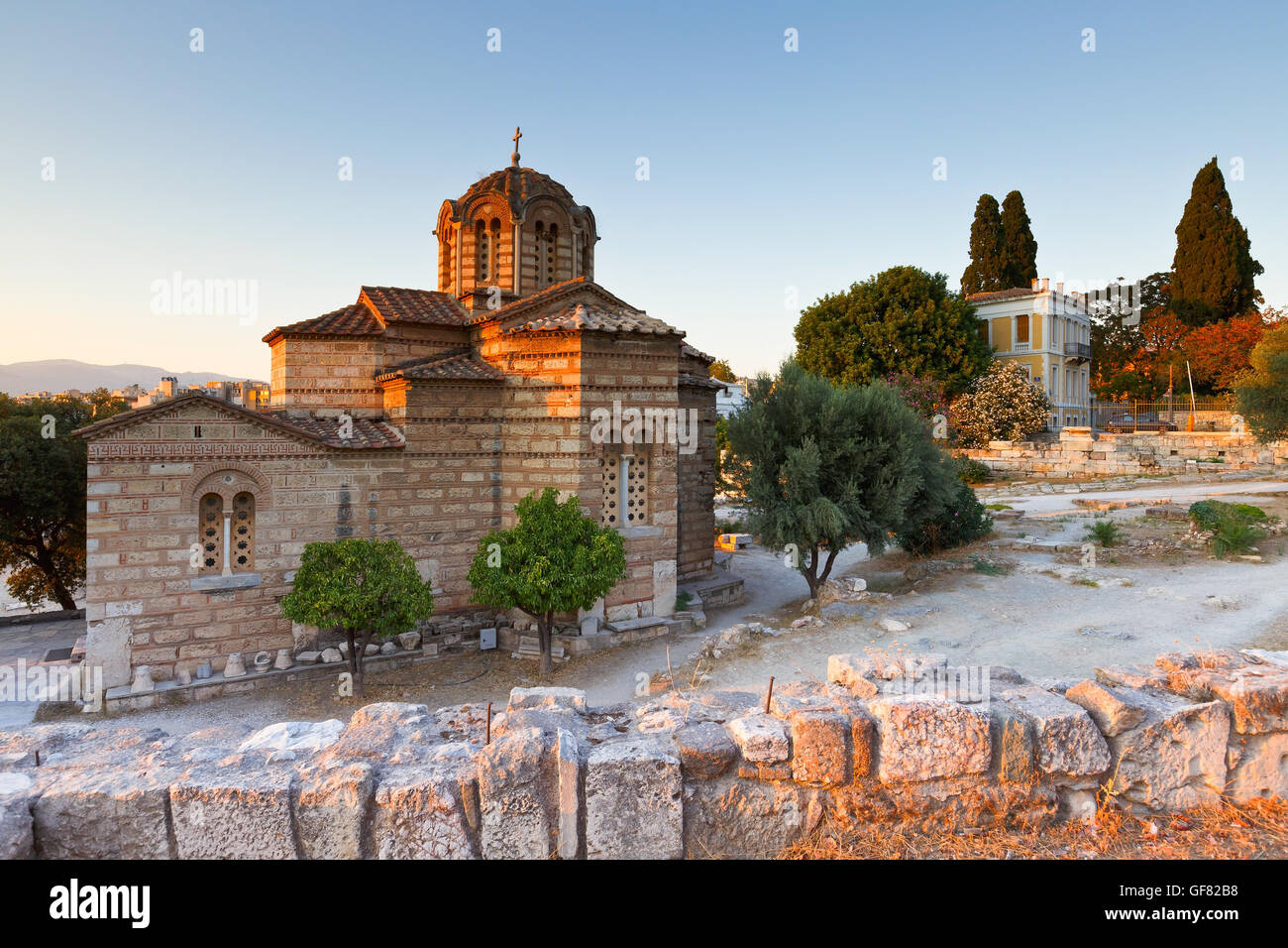 Greek church in the site of the ancient Agora in Athens. - Stock Image
