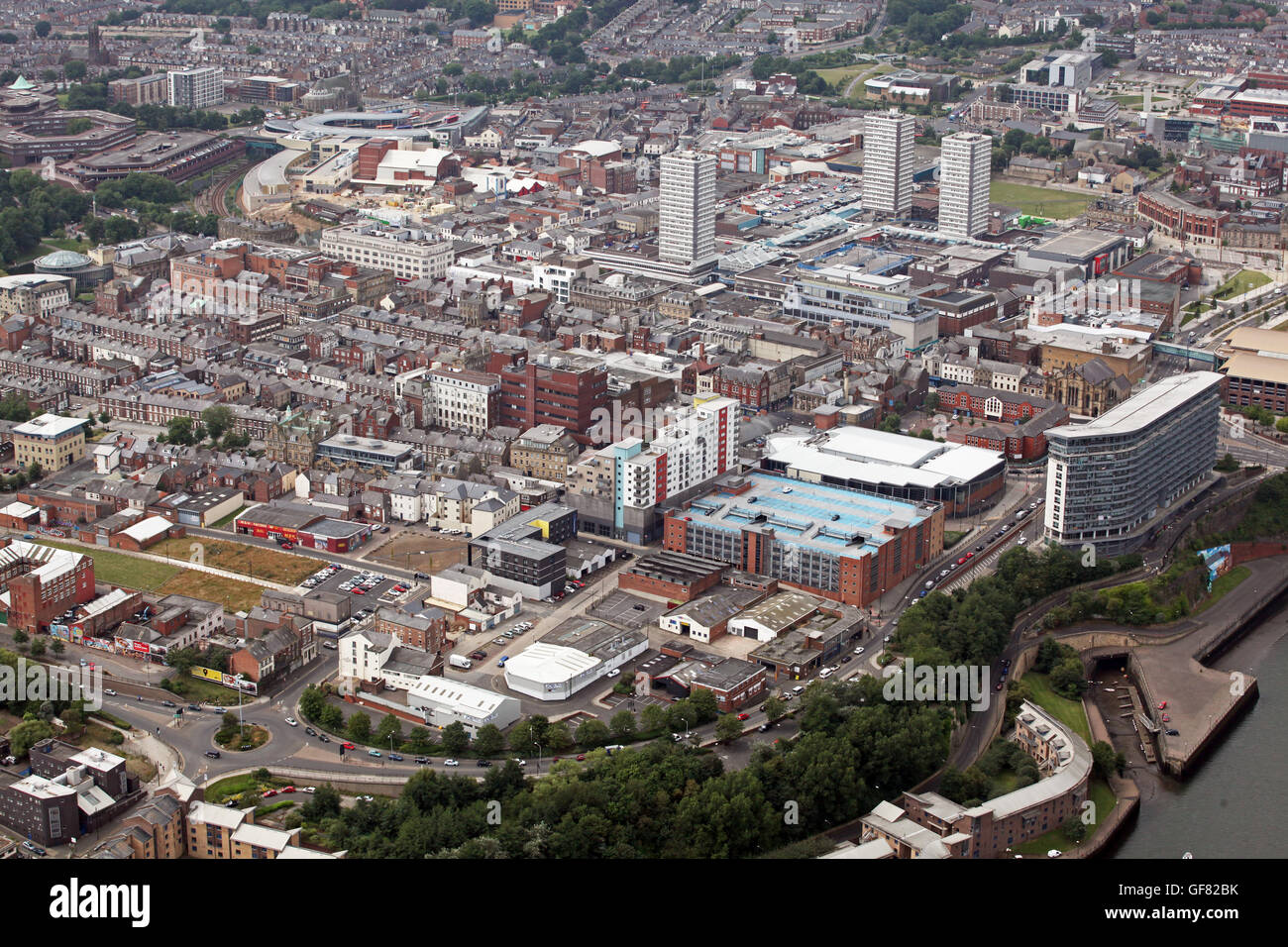 aerial view of Sunderland city centre, Tyne & Wear, UK - Stock Image
