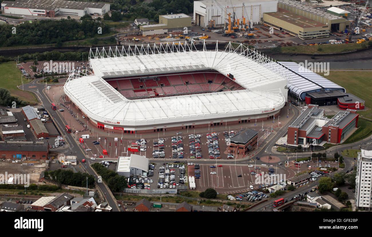aerial view of Sunderland AFC Stadium of Light, UK - Stock Image