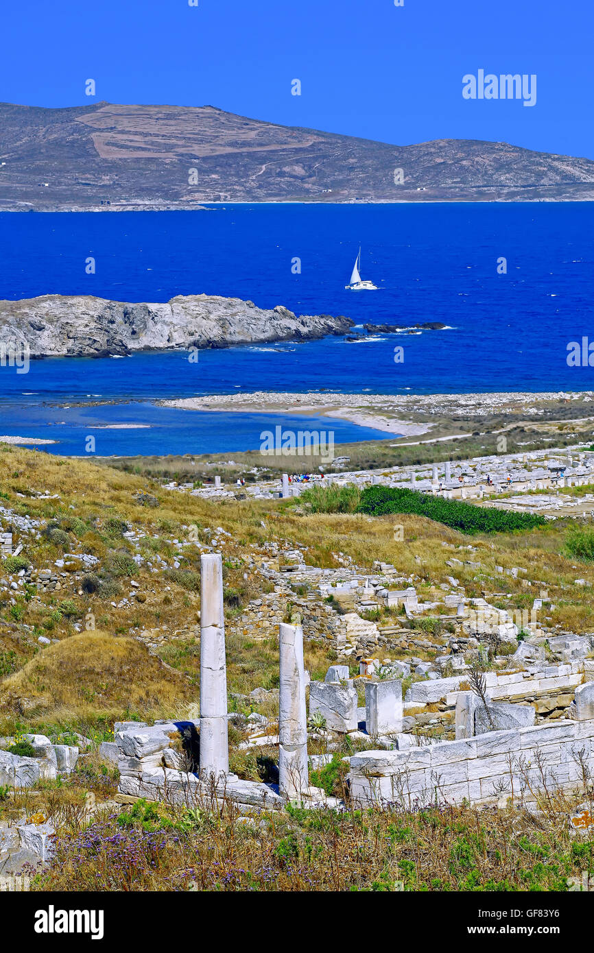 archeological site of Delos , Cyclades islands, Greece - Stock Image