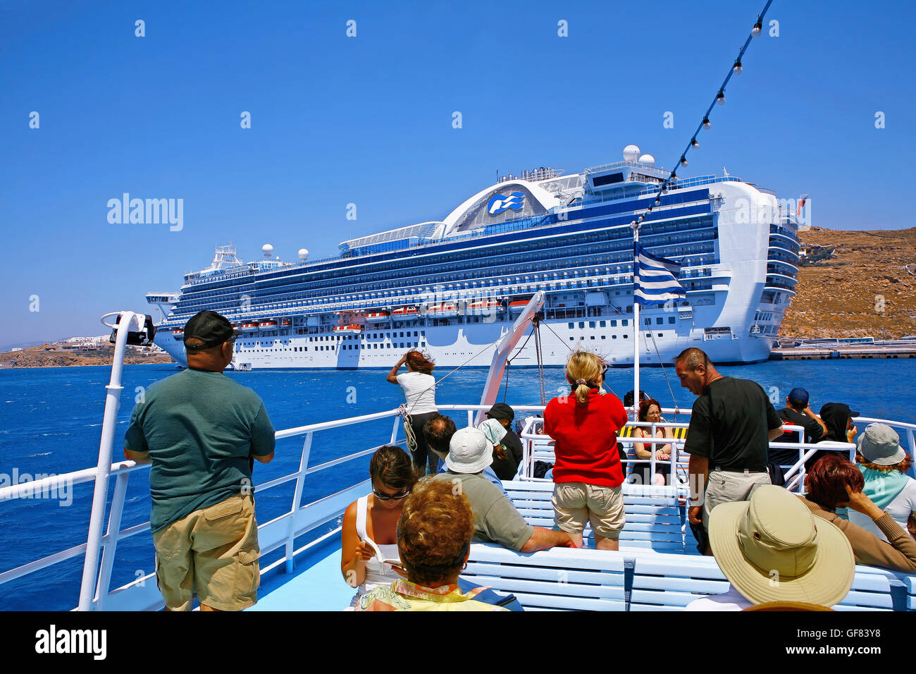 Cruising ship at Mykonos Cyclades  islands, Greece Stock Photo