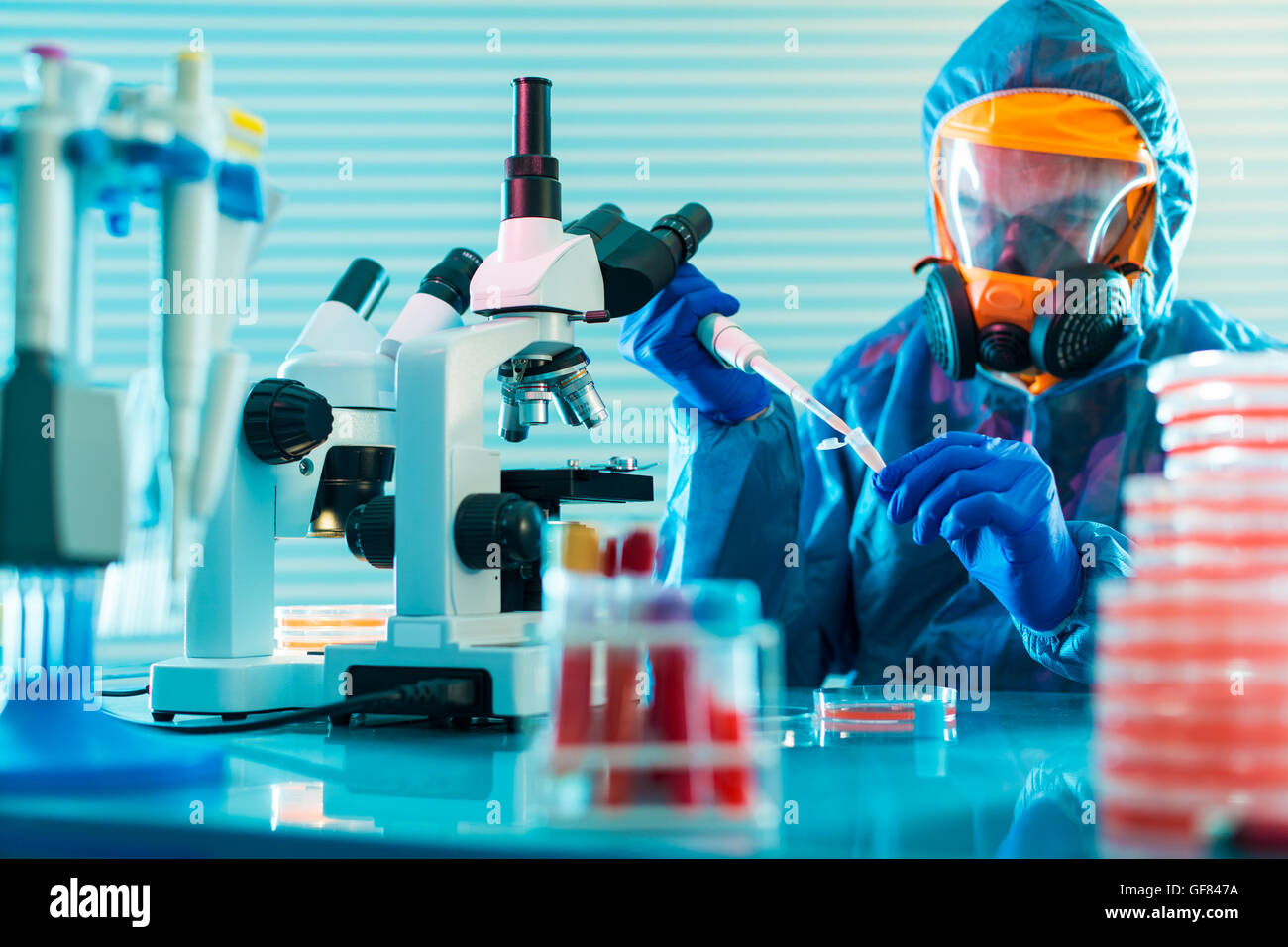Detection of the pathogen coronavirus (Coronaviridae, Middle East Respiratory Syndrome) infection in the microbiology - Stock Image