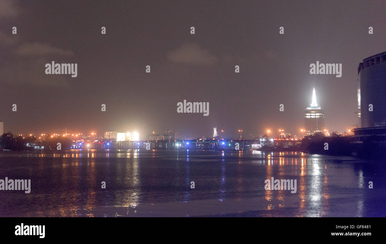 Victoria Island, Lagos skyline at night. - Stock Image