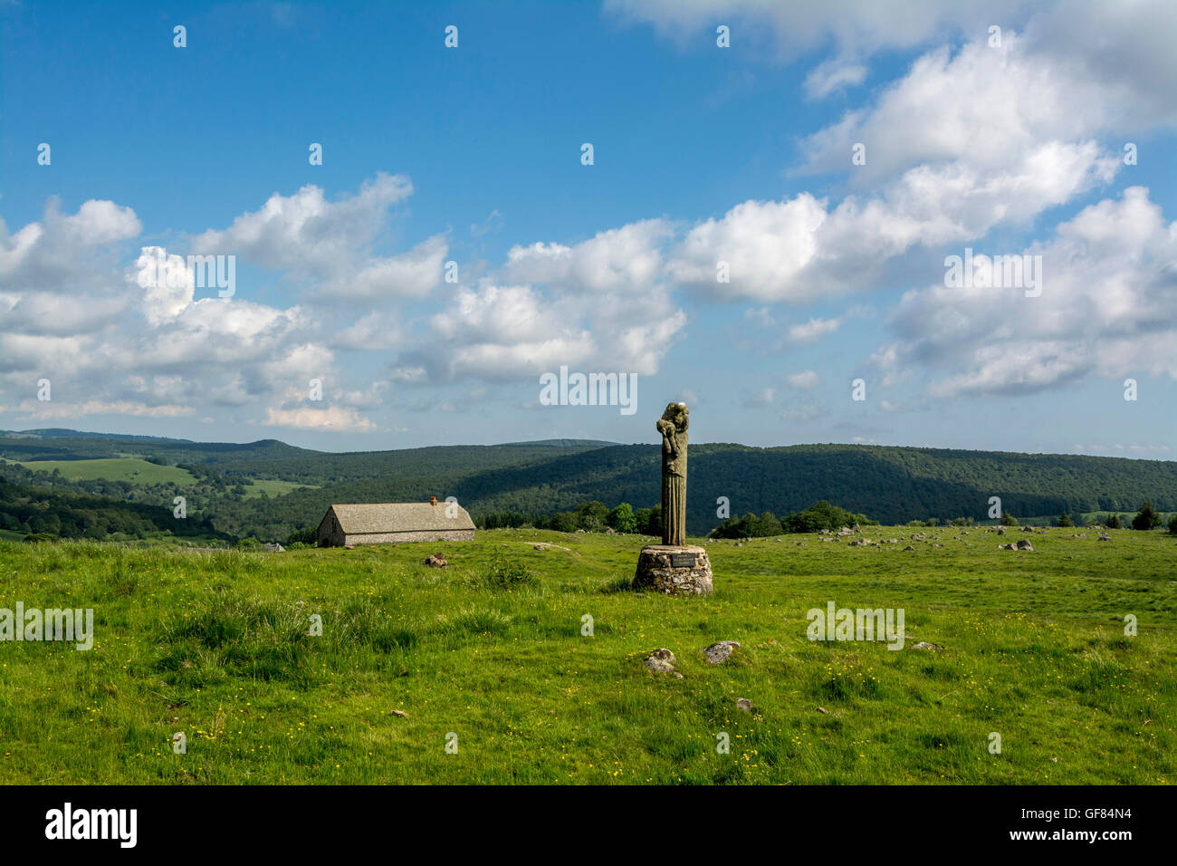 Statue of ND of gentians near Aubrac village, Aubrac region, Aveyron, France - Stock Image
