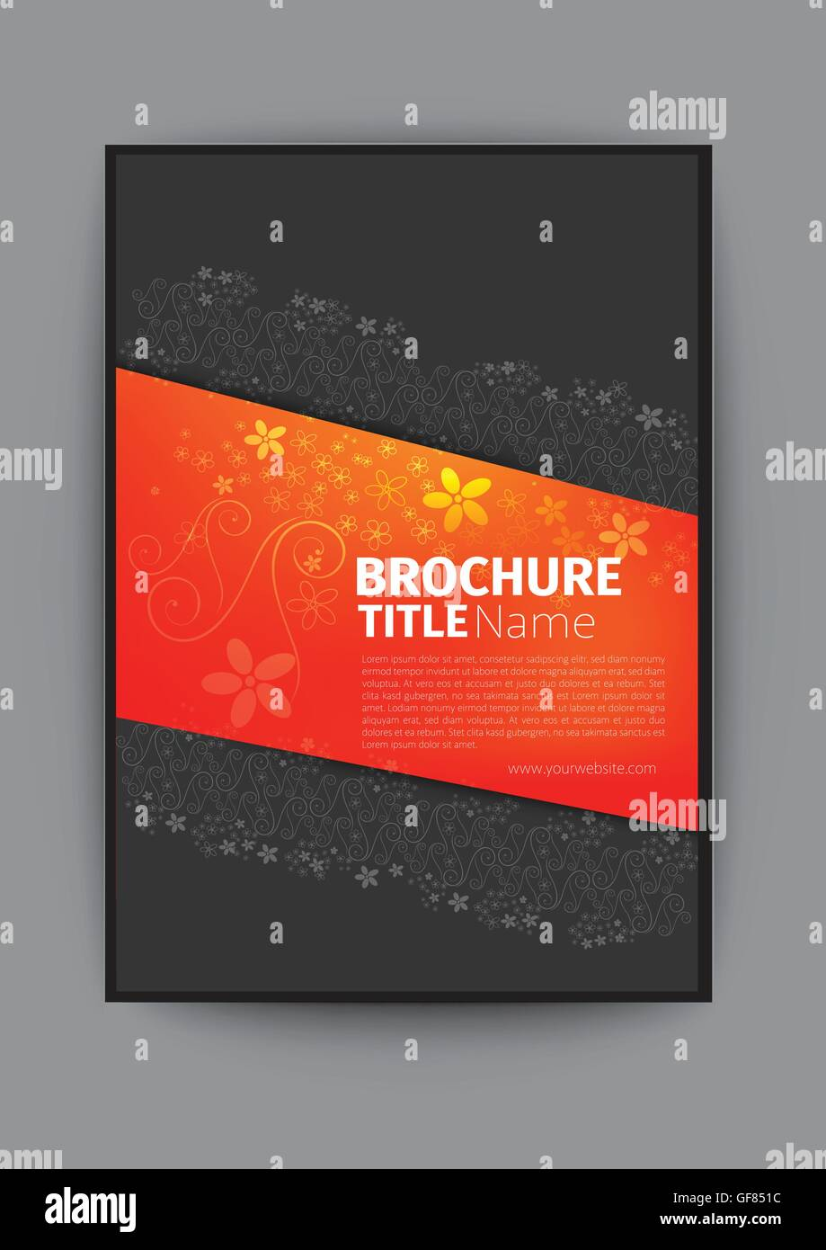 beautiful book cover design with flowers pattern nice design colourful amazing design brand new brochure elegant - Stock Image