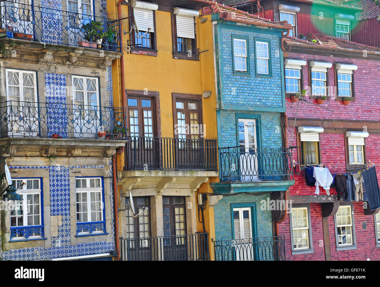 Colorful houses of Oporto, Portugal - Stock Image