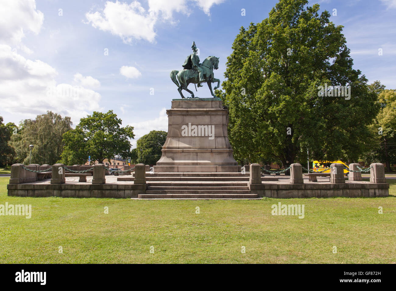 Stockholm, Sweden - Jul 27, 2016 : View of Statue of Karl XV at Djurgarden park, Stockholm, Sweden - Stock Image