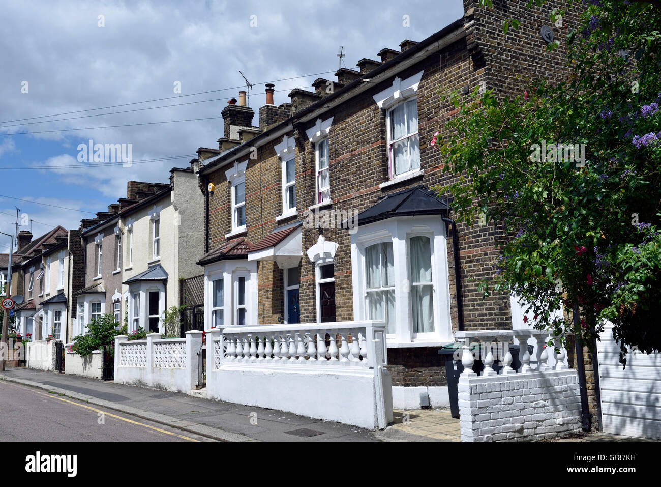 Two story terraced houses London Borough of Haringey England Britain UK - Stock Image