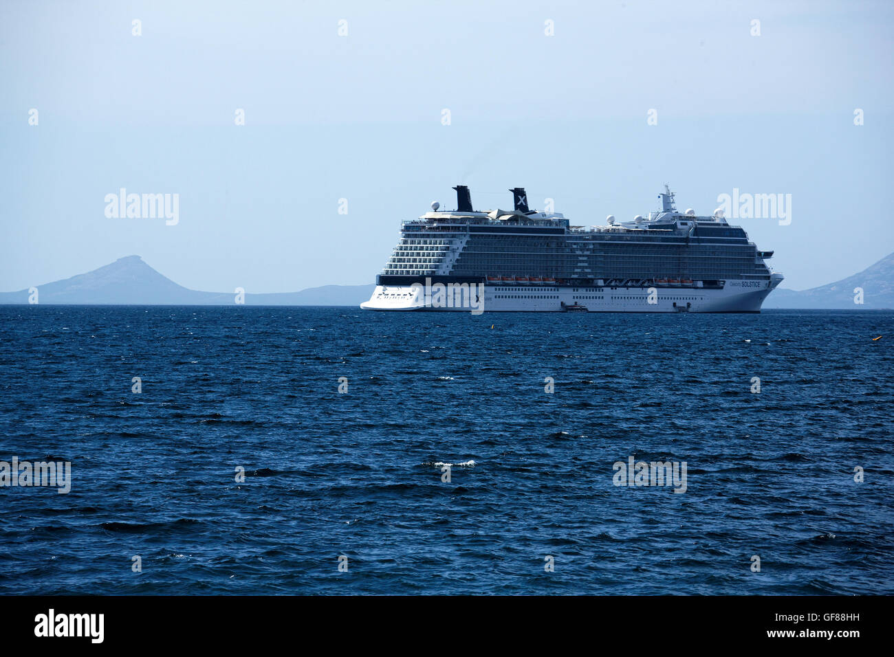 Celebrity Cruise Ship Solstice At Anchor With Frenchman Peak In The