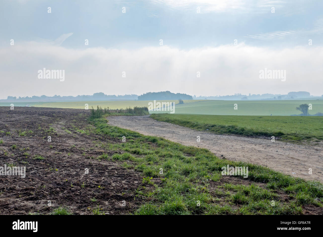 The Battle of Waterloo, Waterloo, Belgium - Battlefield: View from the British and allied positions looking south - Stock Image