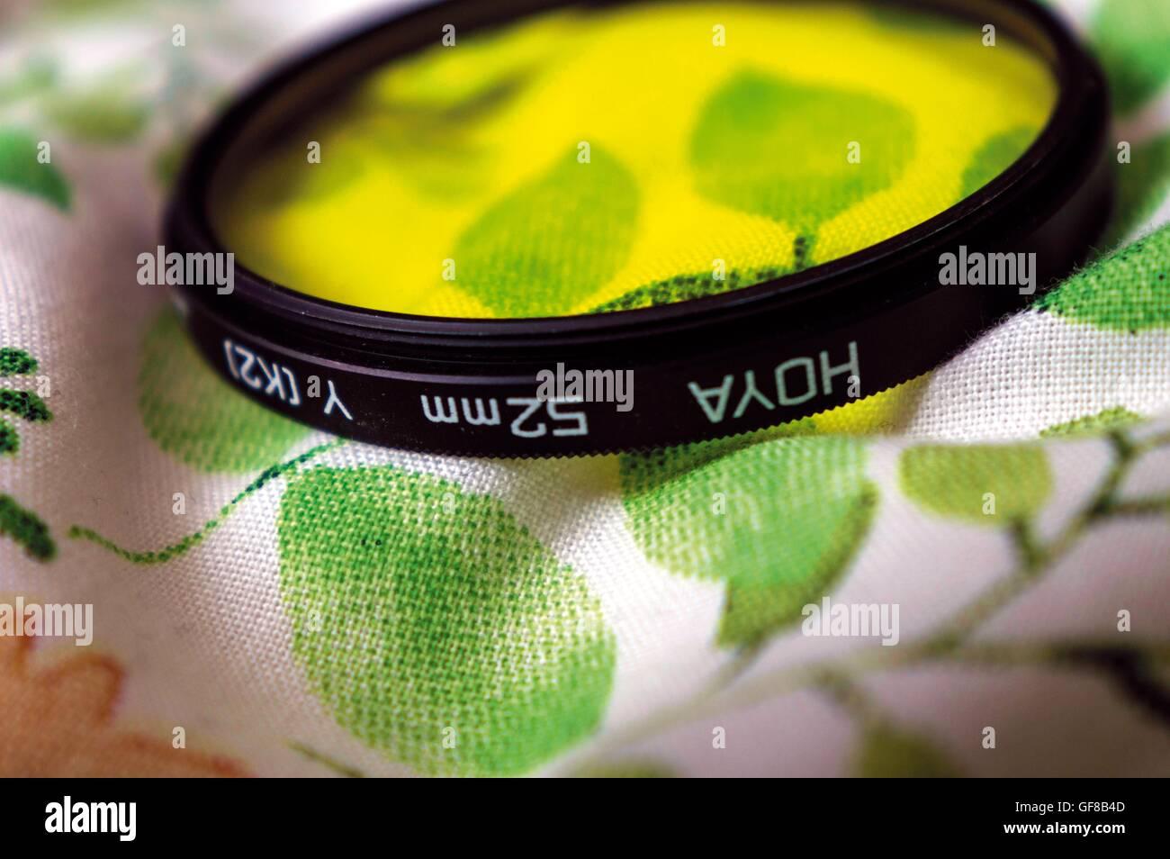 Photography Yellow Lens Filter (Macro) - Stock Image