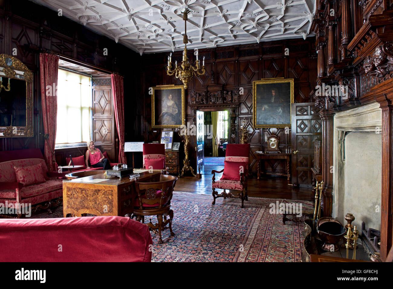 The drawing room, Levens Hall, South Lakeland, Cumbria, England UK Stock Photo