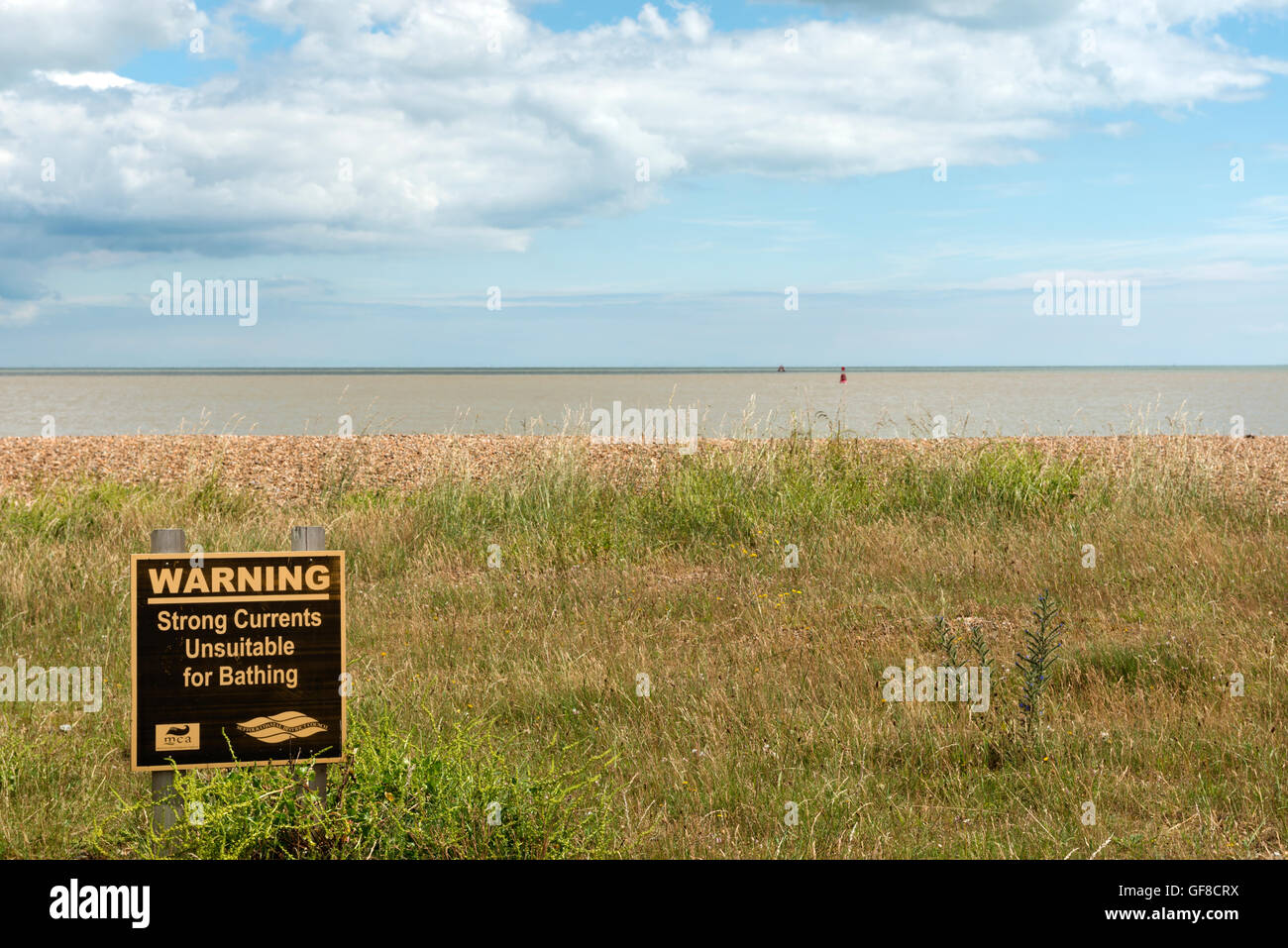 Strong Currents unsuitable for bathing warning sign, Shingle Street, Suffolk, UK. - Stock Image