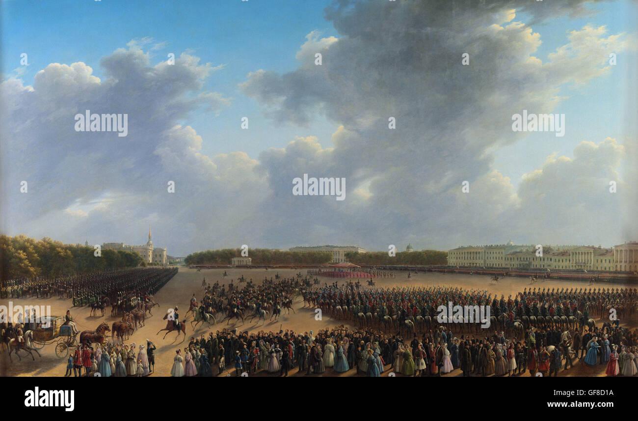Grigory Chernetsov - Parade Celebrating the End of Military Action in the Kingdom of Poland on Tsaritsa - Stock Image