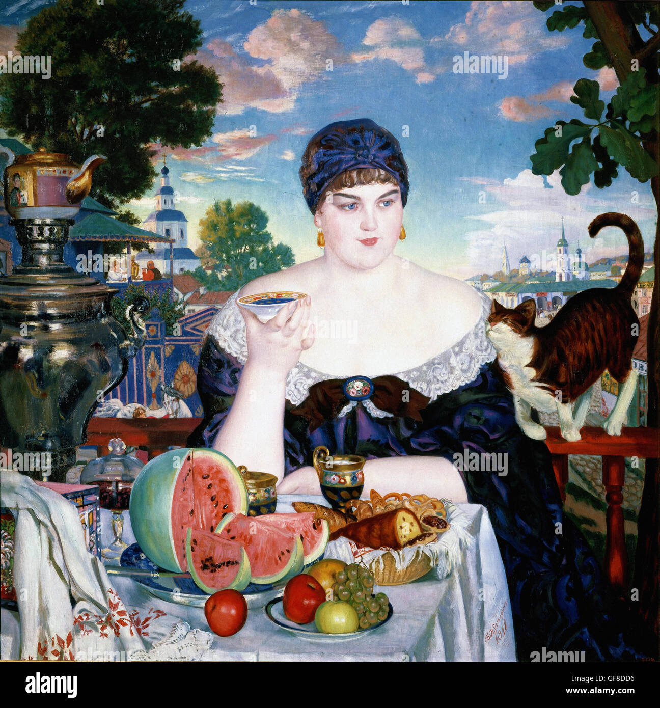 Boris Kustodiev - Merchant's Wife at Tea - Stock Image