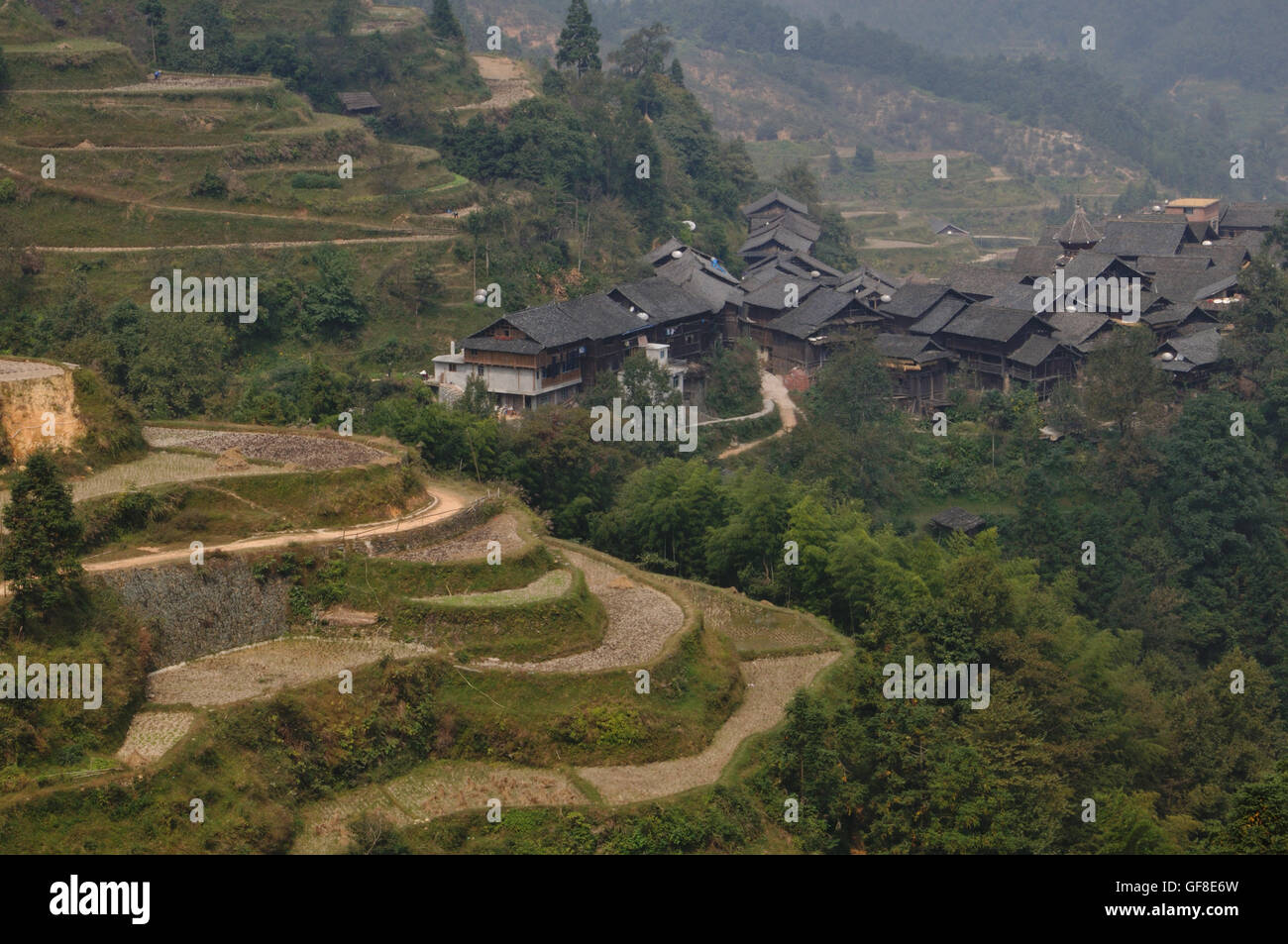 Terraces and Jitang, with Zhaoxing in the Distance Stock Photo