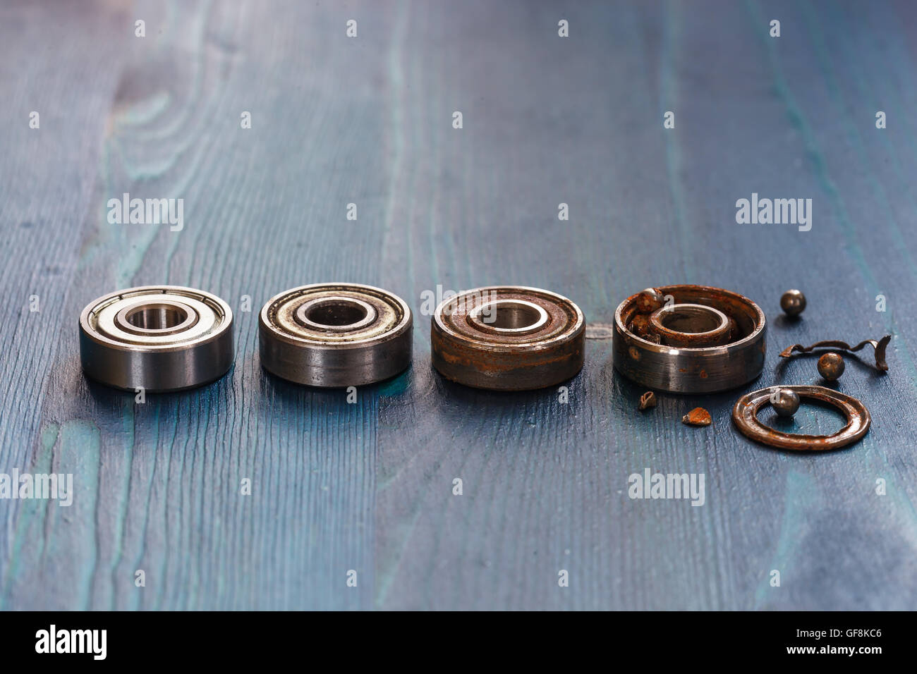 Spoiled collapsed and a new bearing for rollers and scooters - Stock Image