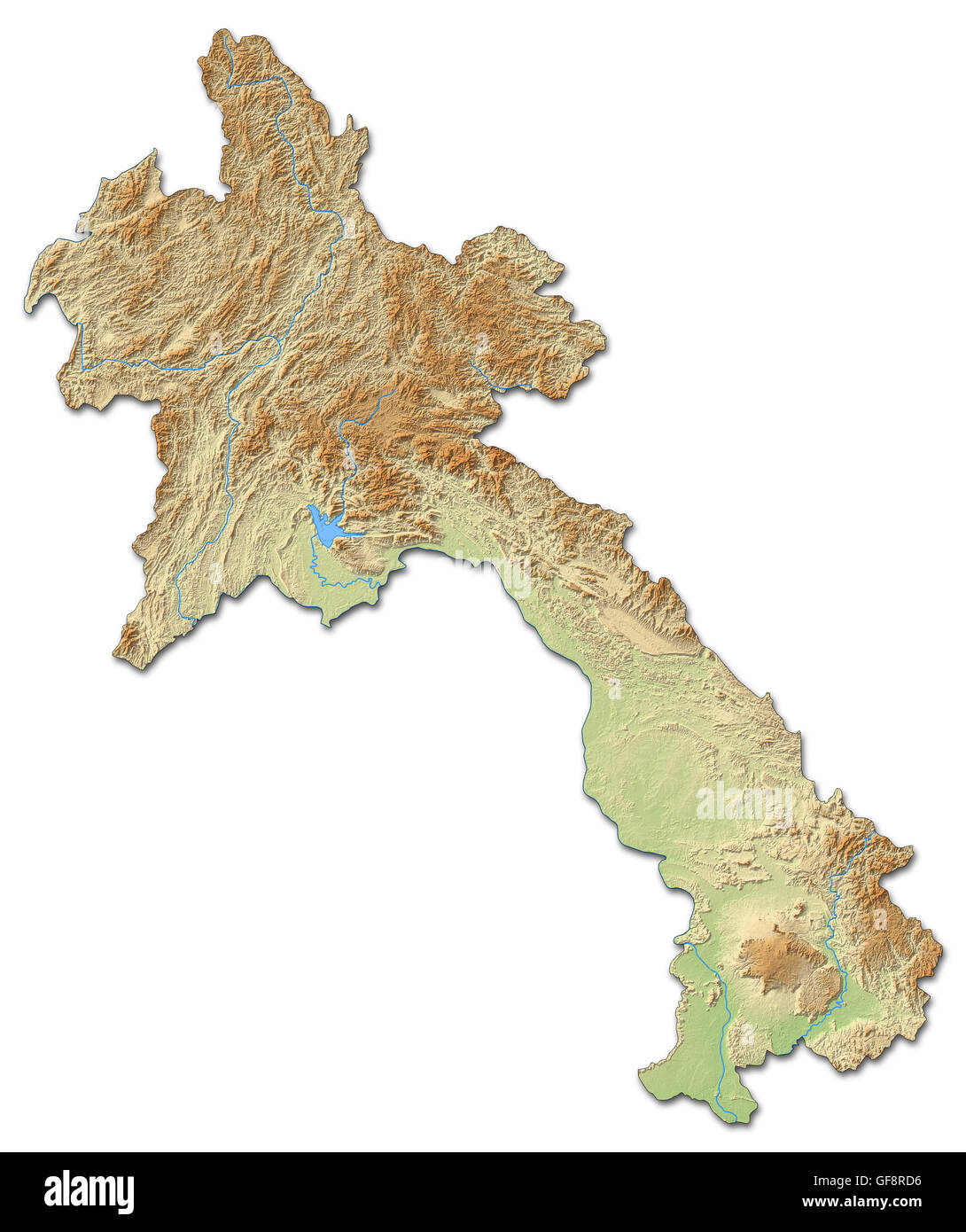 Laos On A World Map.Relief Map Of Laos With Shaded Relief Stock Photo 112676066 Alamy