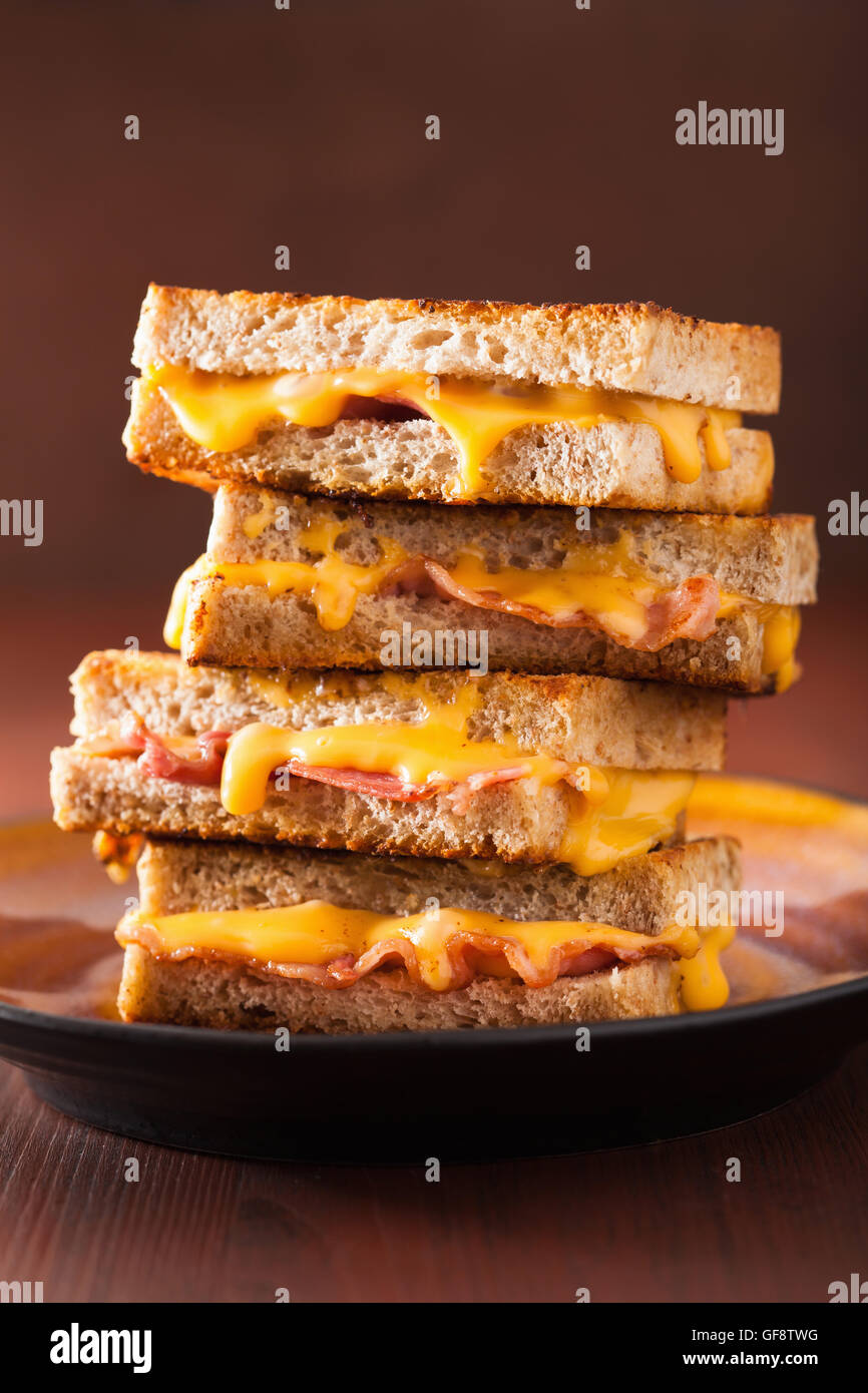 grilled cheese and bacon sandwich - Stock Image