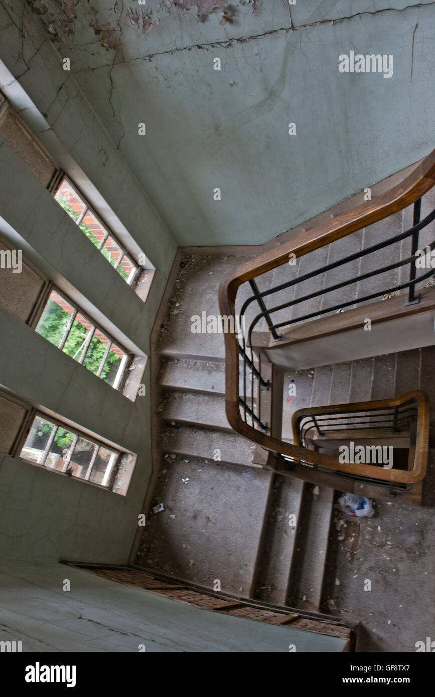 Interior image showing part of the closed St Clements Hospital in London's East End before the major redevelopment. - Stock Image
