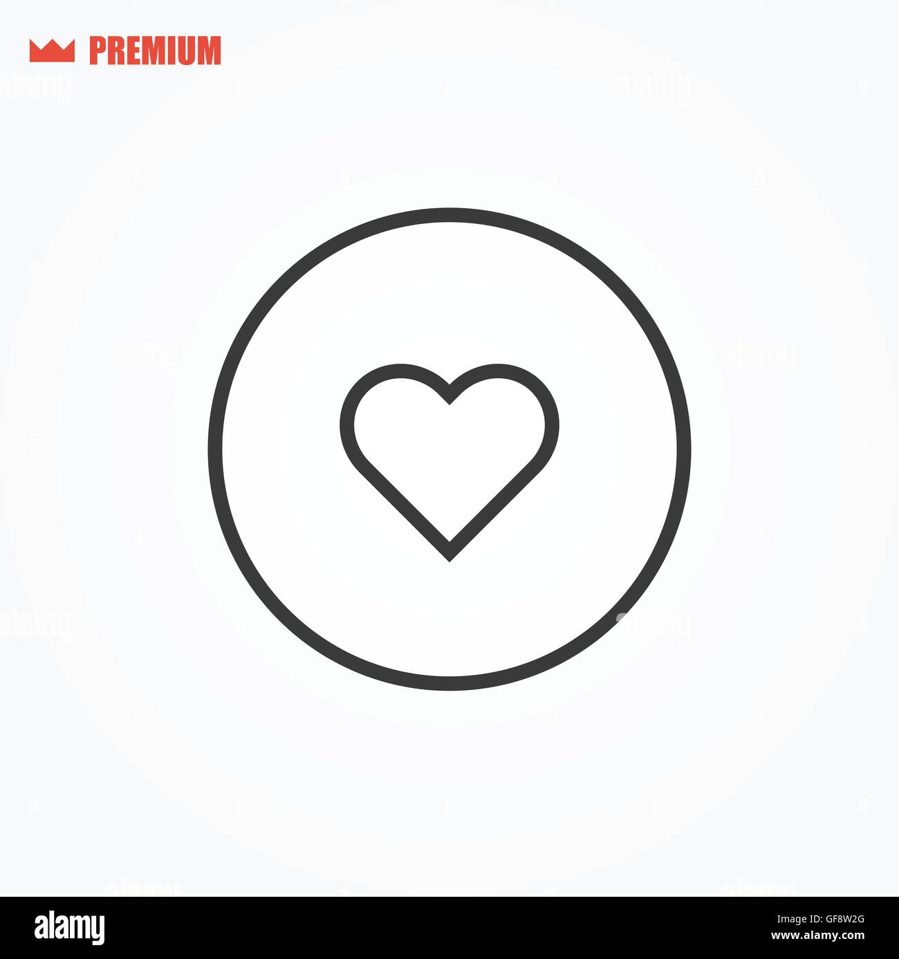 Rounded outline like heart vector icon - Stock Image