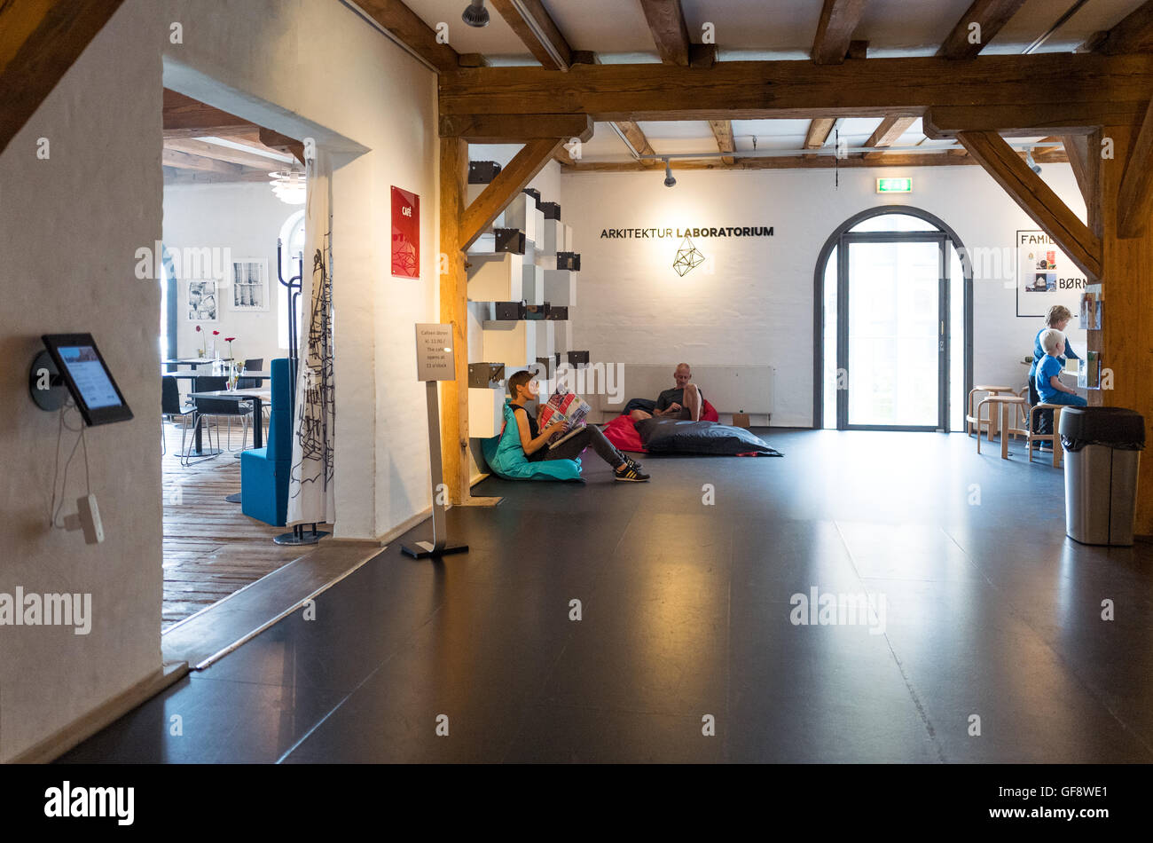 Copenhagen, Denmark - July 22, 2015: People in the relax room of the Danish Architecture Centre - Stock Image