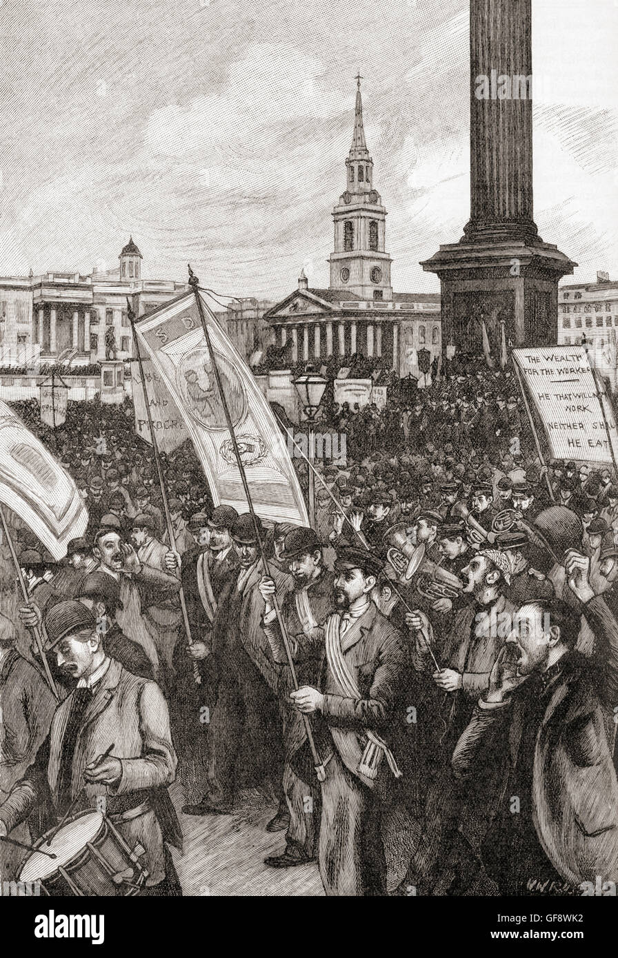 Public meeting in Trafalgar Square, London in 1892 commemorating the anniversary of Bloody Sunday in 1887, when - Stock Image