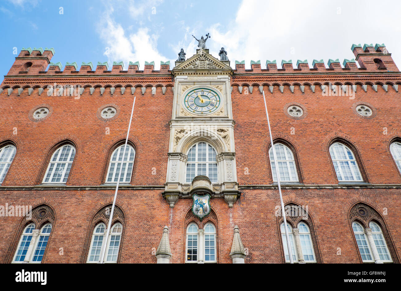 Odense, upward view of the City Hall facade Stock Photo