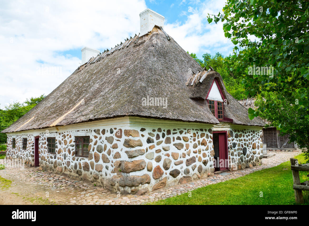 Odense, a traditional house in the Funen farming village Stock Photo