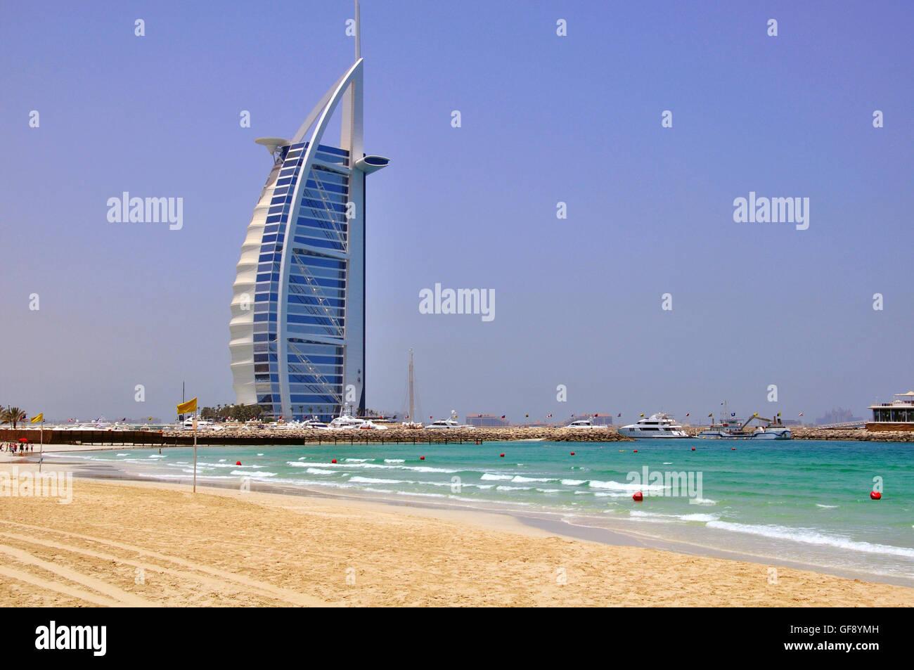DUBAI, UAE - JUNE 11: Burj Al Arab, the most expensive hotel in the world in Dubai city on June 11, 2012. - Stock Image