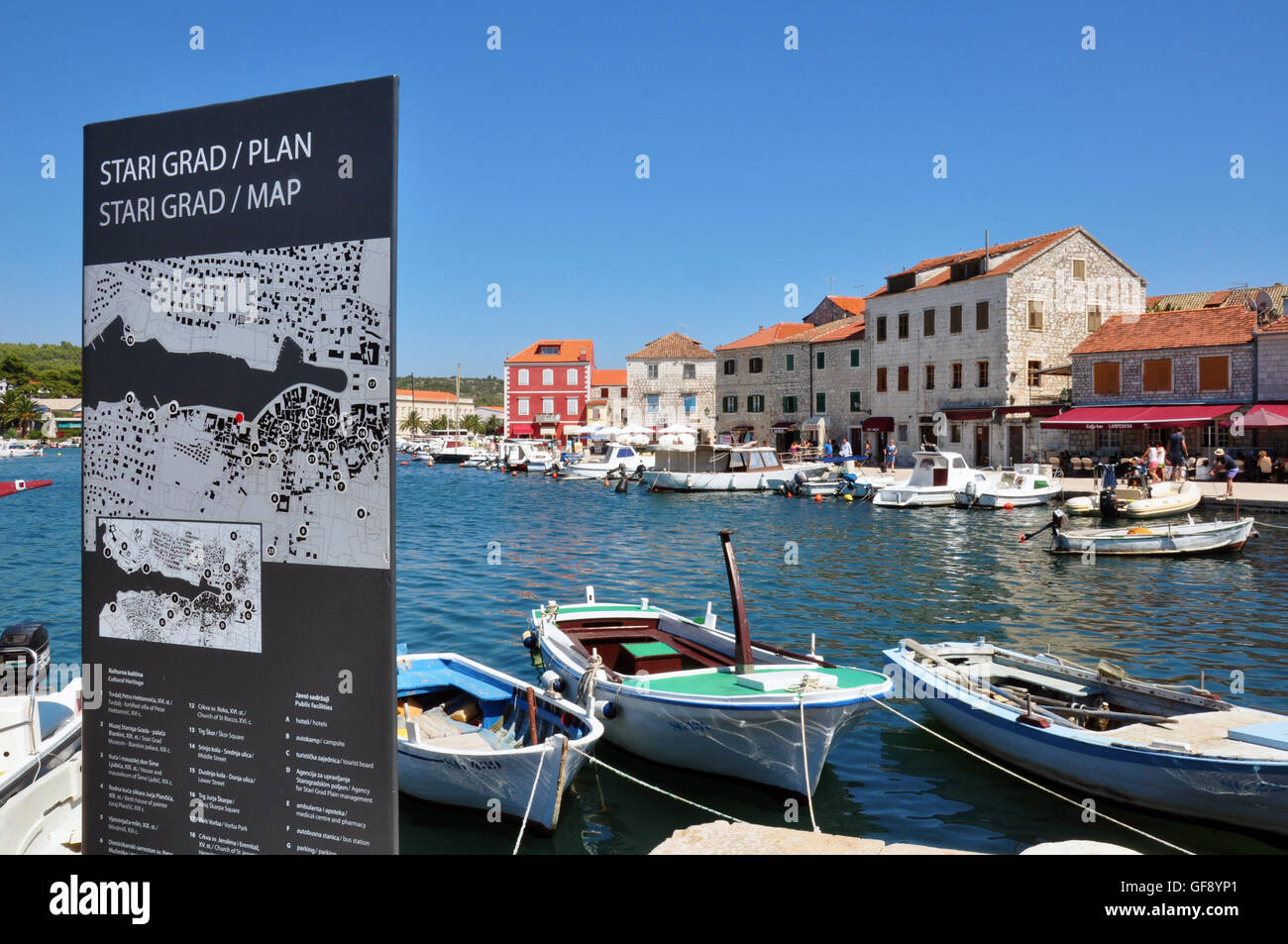 STARI GRAD, CROATIA - JULY 17: Panorama of historical centre with a city map of Stari Grad on July 17, 2012. - Stock Image