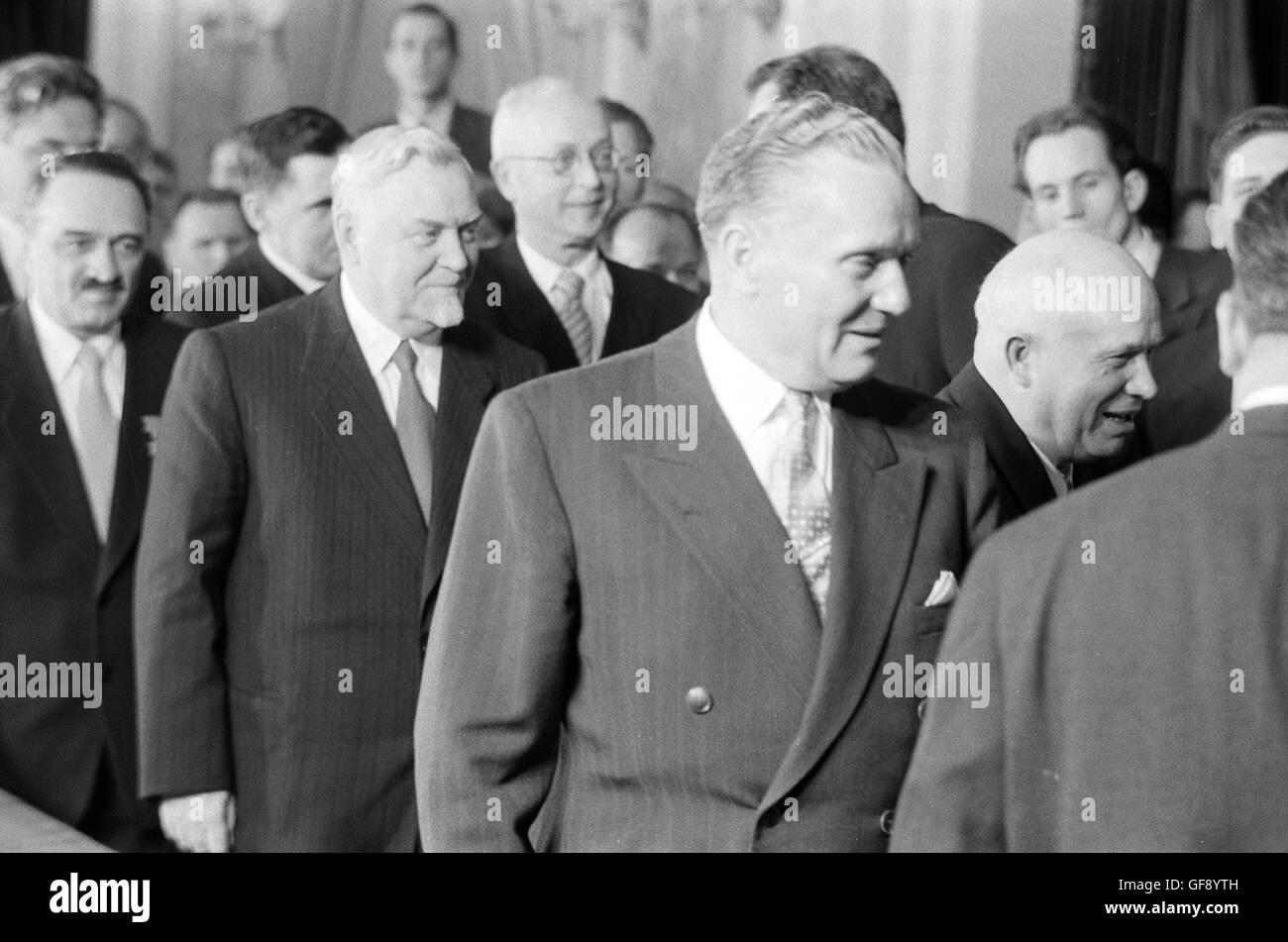 Anastas Mikoyan, Nikolai Bulganin, Josip Tito, and Nikita Khrushchev - Stock Image