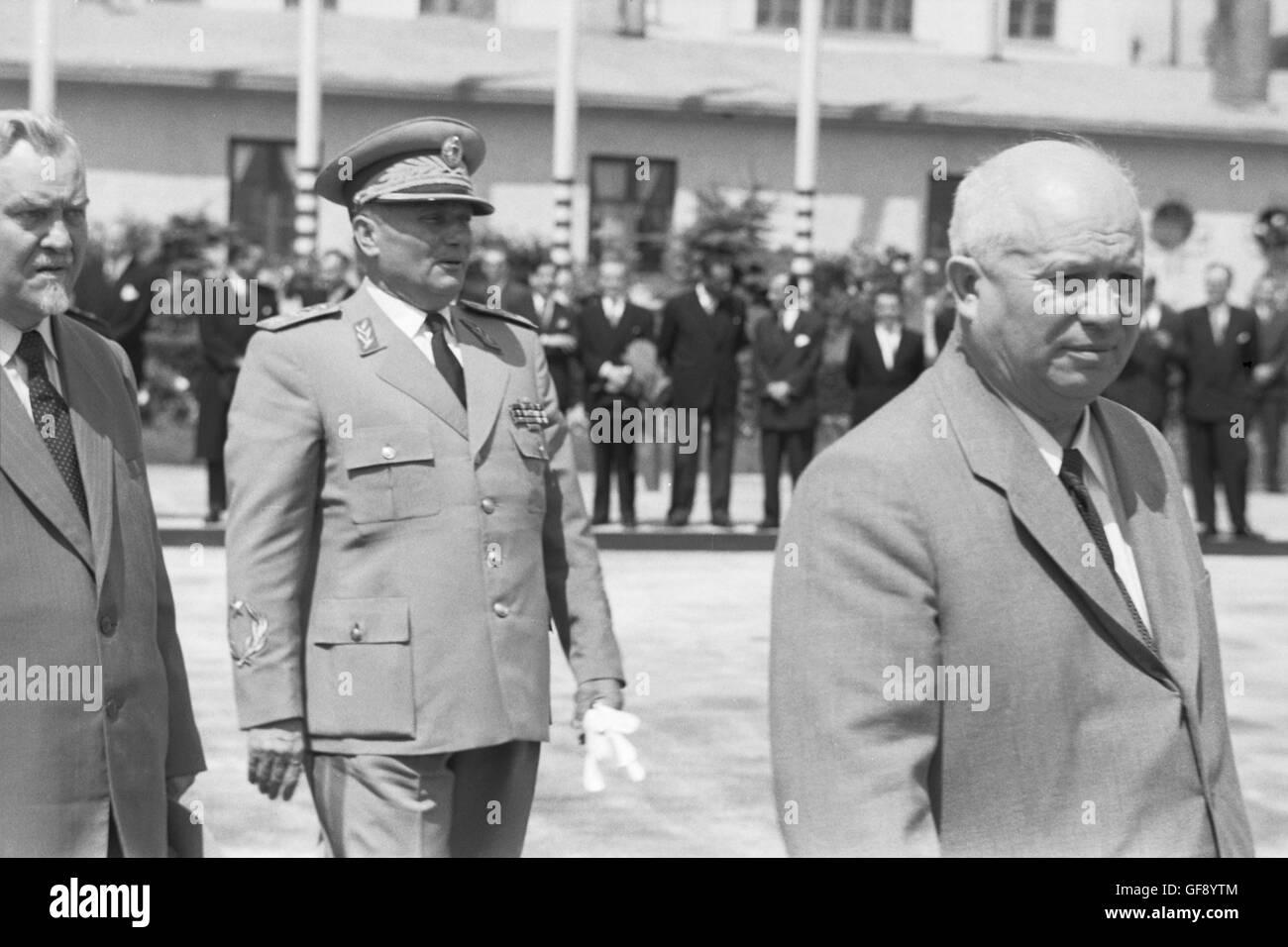 Josip Tito, Nikolai Bulganin, and Nikita Khrushchev Stock Photo