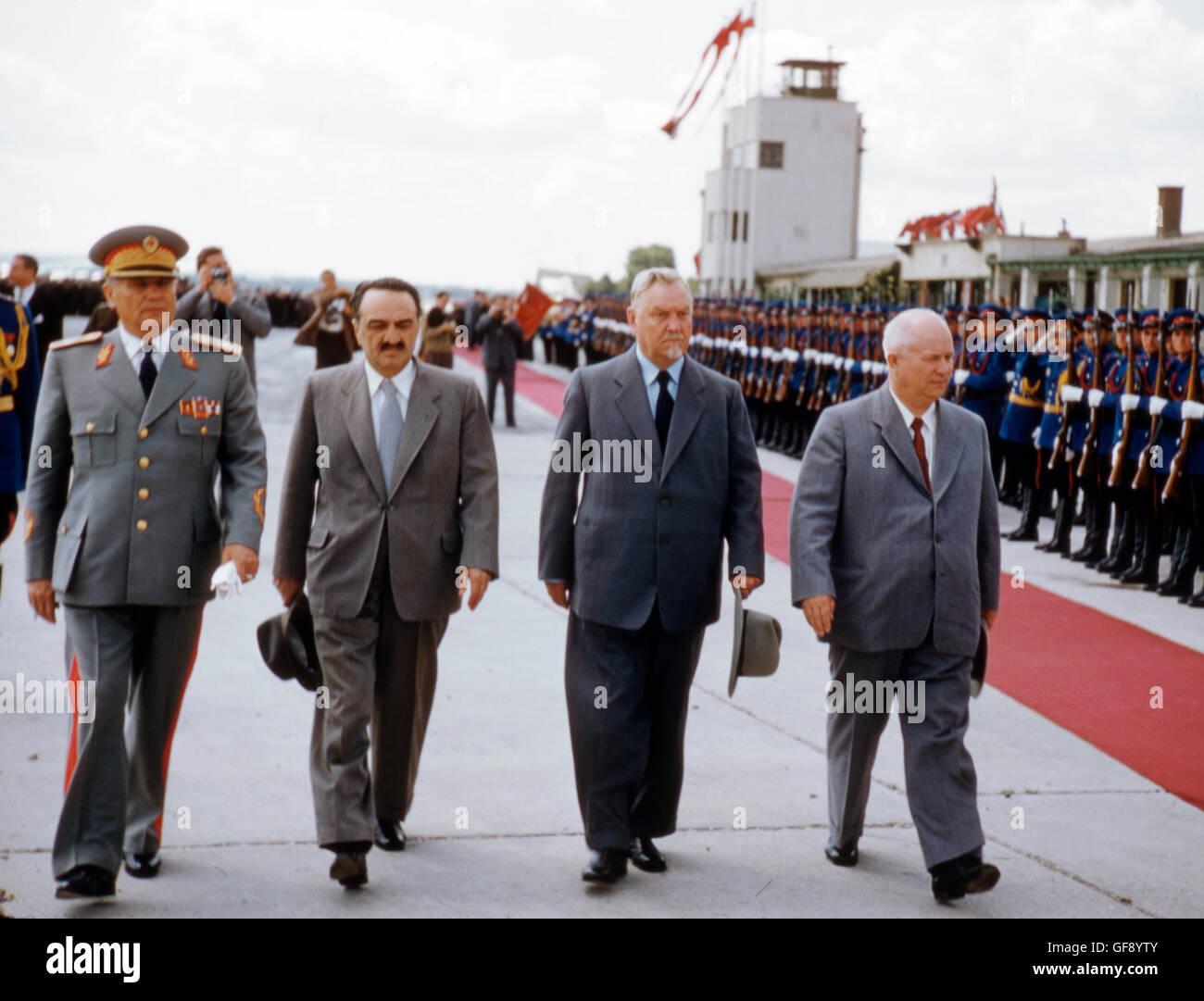 Josip Tito, Anastas Mikoyan, Nikolai Bulganin, and Nikita Khrushchev - Stock Image