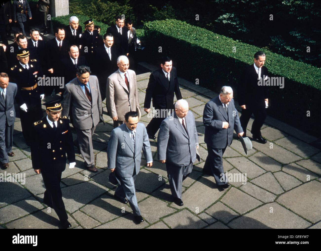 Anastas Mikoyan, Nikolai Bulganin, Nikita Khrushchev, and Anatoly Gromyko - Stock Image