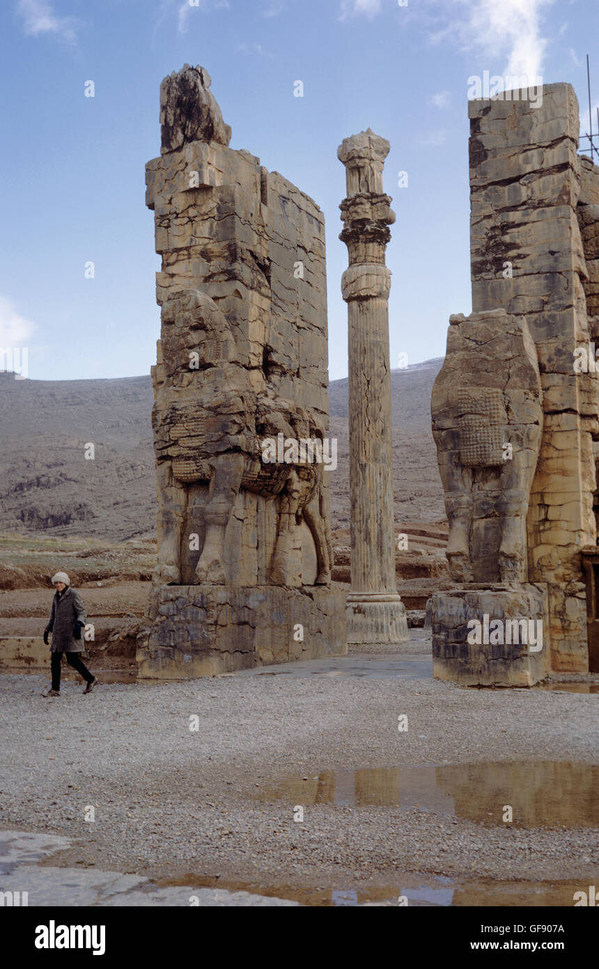 Tourist at the Gate of Xerxes, Persepolis, Iran 690125 008 Stock Photo