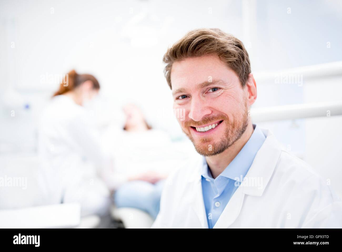MODEL RELEASED. Close-up of dentist, portrait, close-up. - Stock Image
