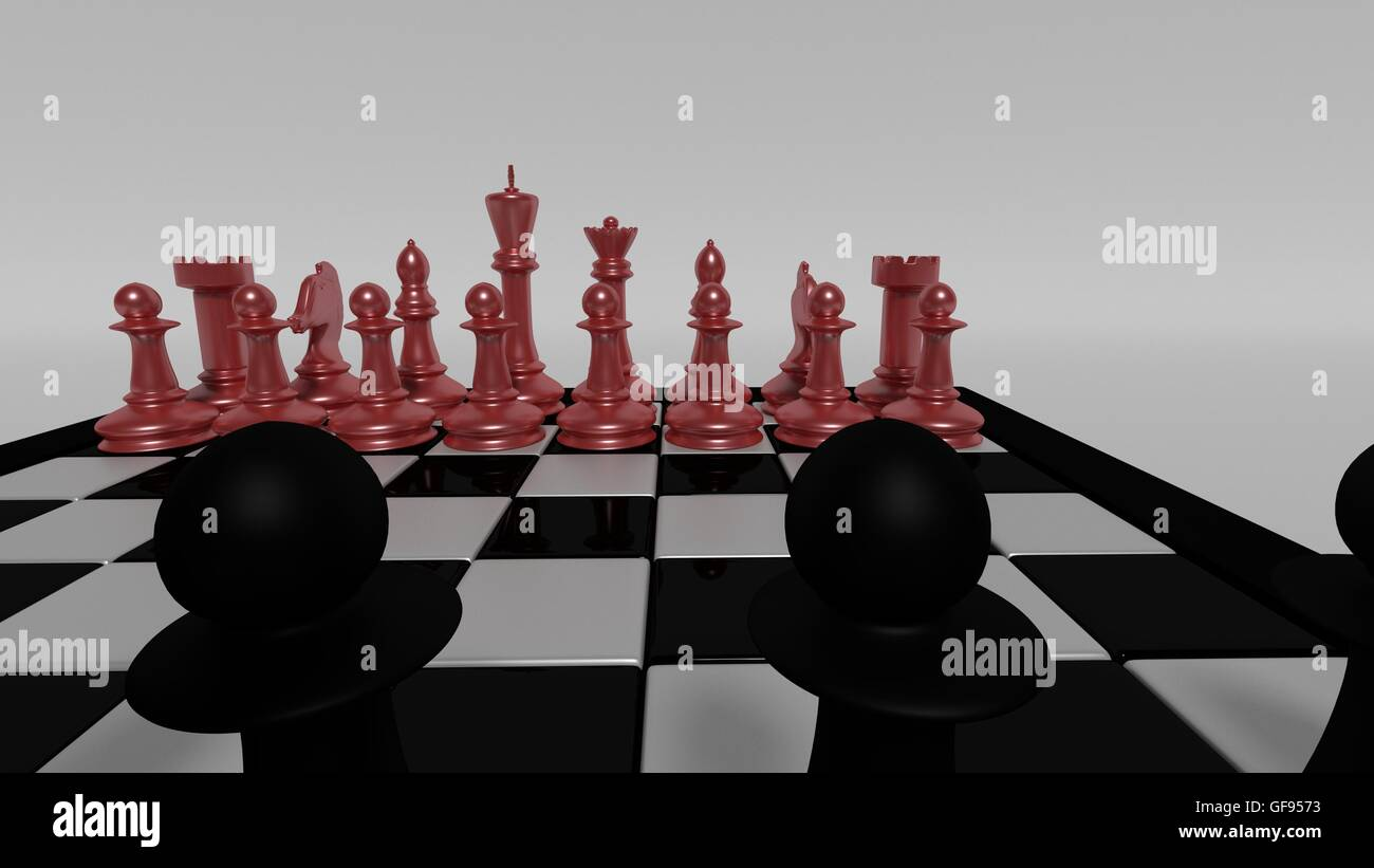 black pieces opposing red chess pieces - Stock Image