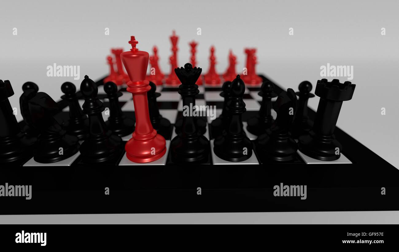 red king leading black team - Stock Image